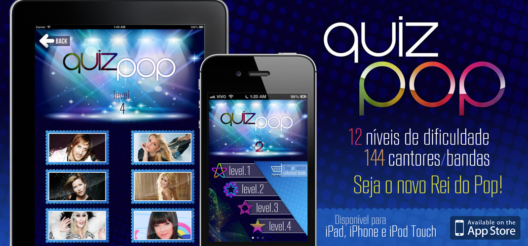 Quiz Pop - Disponível na AppStore para iPhone, iPod e iPad